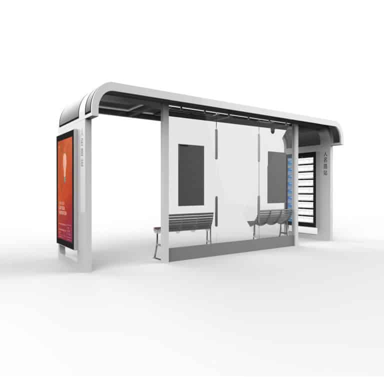 Intelligent Smart City Bus Shelter Solution for Urban Public Transport by Ampron - www.ampron.eu